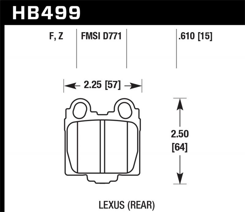 Hawk Performance Disc Brake Pad Lexus Rear - HB499F.610