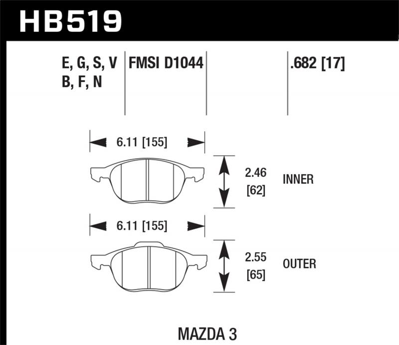 Hawk Performance Disc Brake Pad Front - HB519F.682