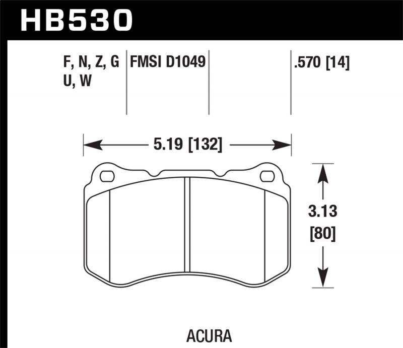 Hawk Performance Disc Brake Pad Acura TL Front 2007-2008 3.5L V6 - HB530N.570