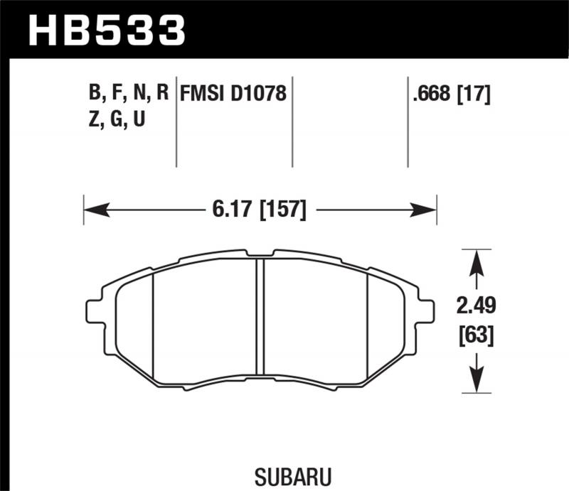 Hawk Performance Disc Brake Pad Subaru Front - HB533F.668