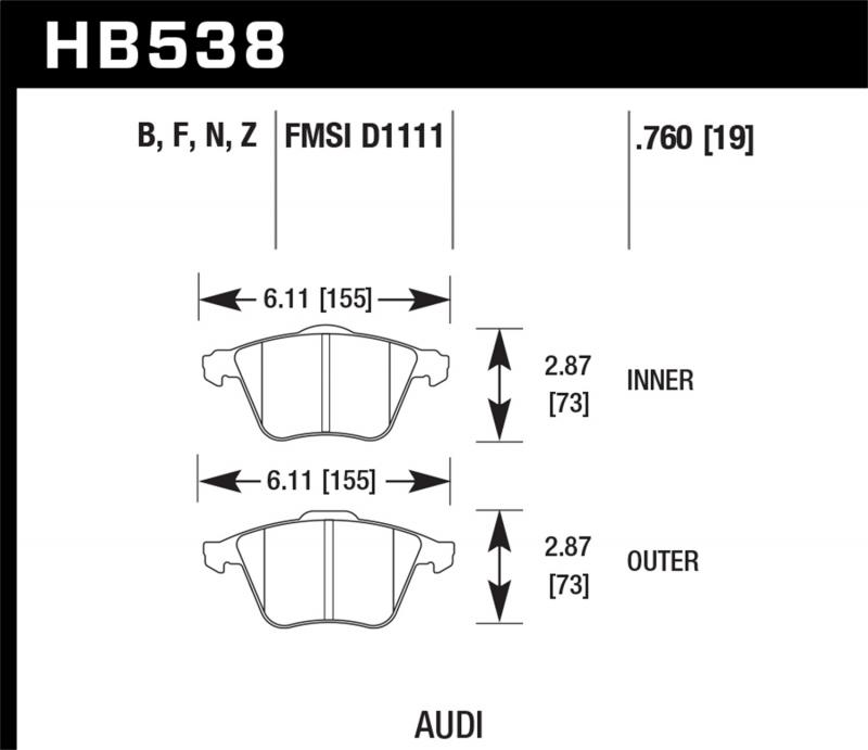 Hawk Performance Disc Brake Pad Front - HB538N.760