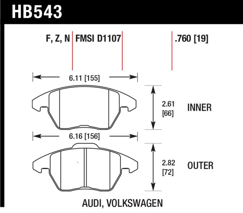 Hawk Performance Disc Brake Pad Front - HB543N.760