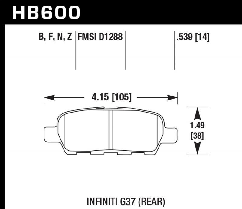 Hawk Performance Disc Brake Pad Rear - HB600F.539