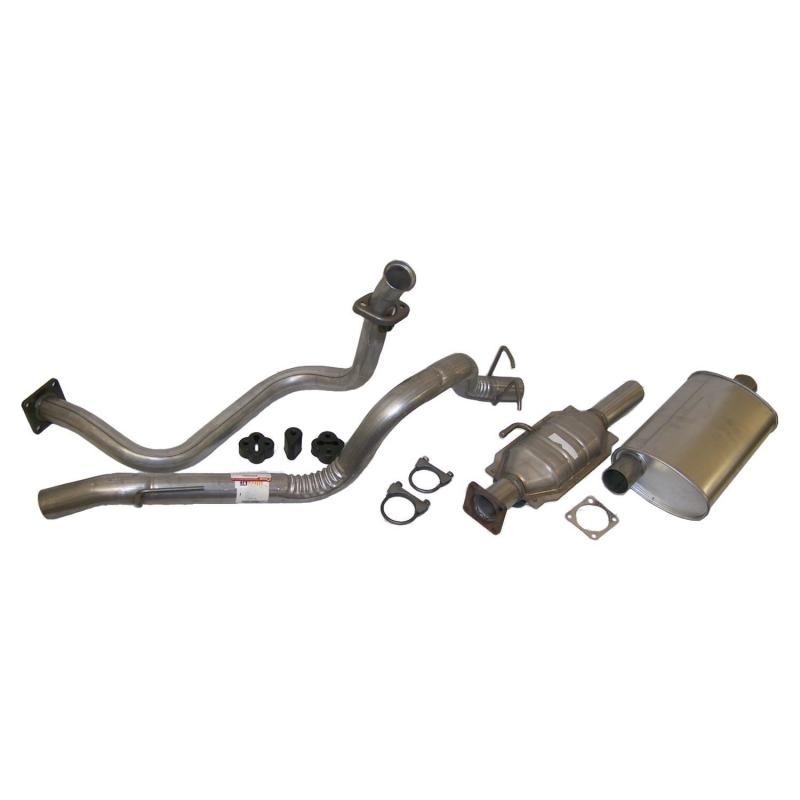 Crown Automotive Jeep Replacement Exhaust Kit (Front Pipe, Cat. Converter, Muffler, Tailpipe, Clamps & Insulators) Jeep Wrangler 1987-1992 2.5L 4-Cyl - 52001720K