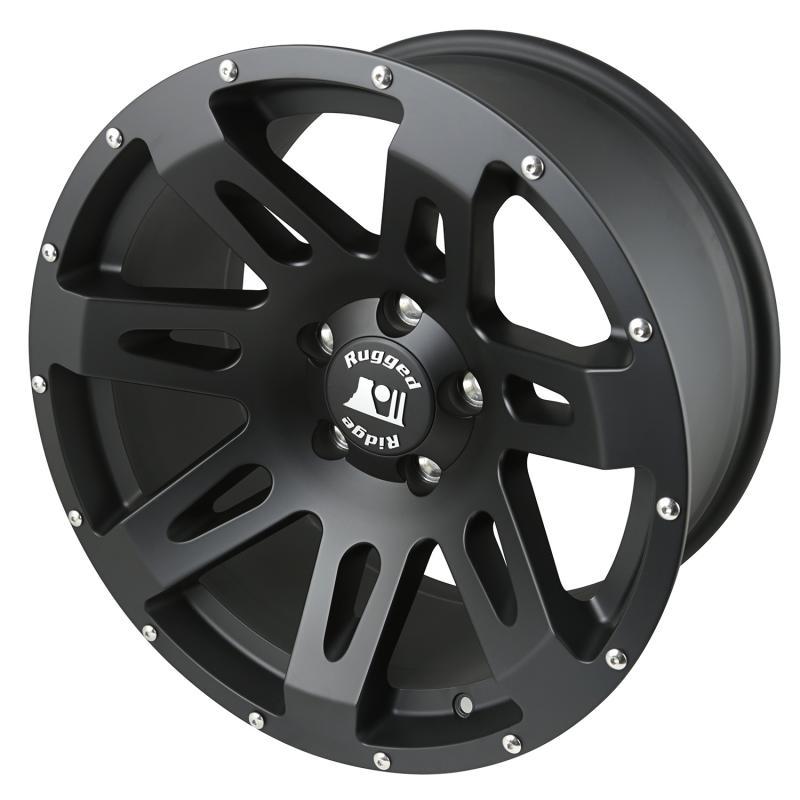 Rugged Ridge XHD Wheel, 18x9, Black Satin; 07-18 Jeep Wrangler JK Jeep Wrangler 2007-2018 - 15305.01