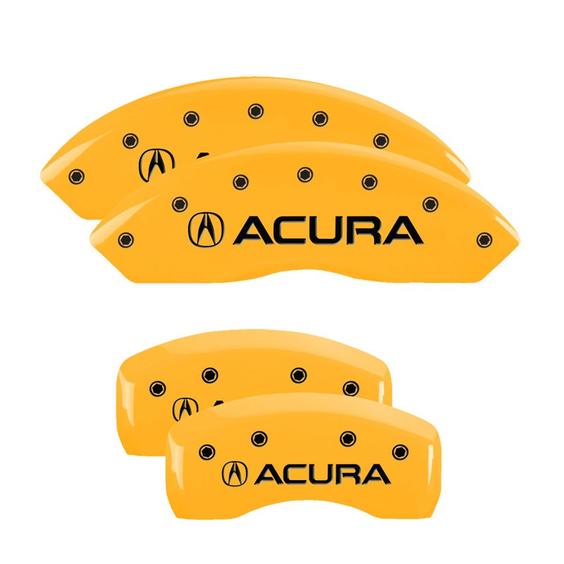 MGP Caliper Covers Set Of 4: Yellow Finish, Black Acura