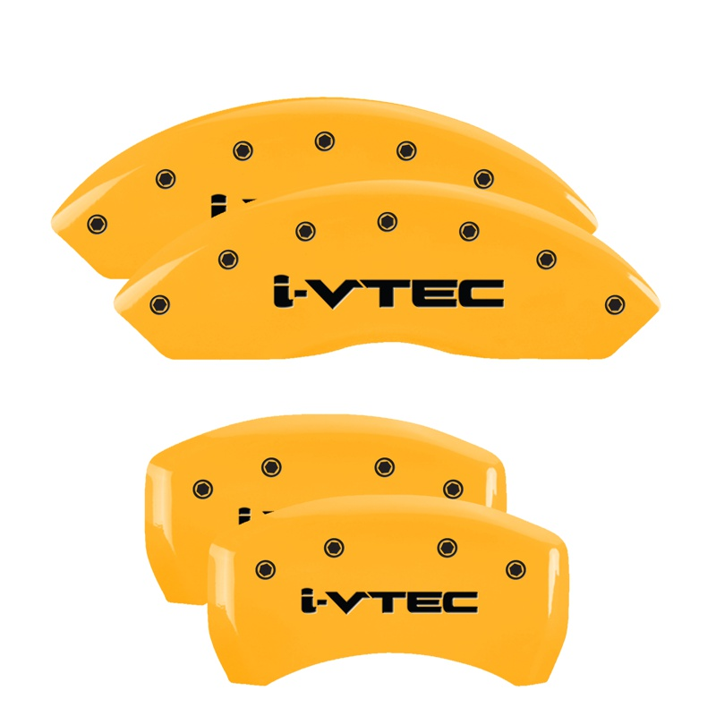 MGP Caliper Covers Set Of 4: Yellow Finish, Black I-Vtec