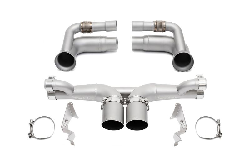 Soul Performance Competition Exhaust Valved 4 Inch Slash Single Wall Satin Tips Porsche 991.2 GT3 17-19 - POR.9912GT3.PKGV.SLT4