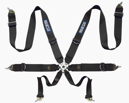Sparco Competition 6-Point Pull Up Style Harness Black - 04827BMNR