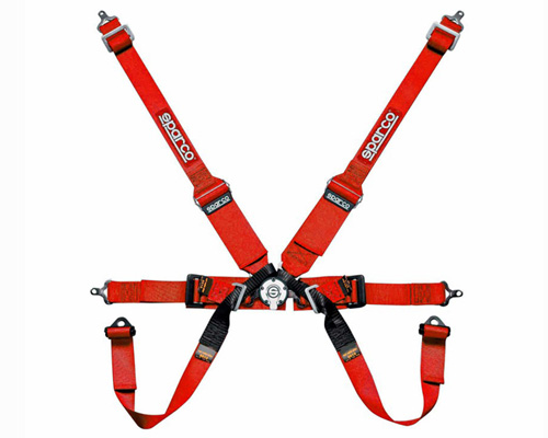 Sparco Competition 6-Point Pull Down Style Harness Red - 04827BMPDRS