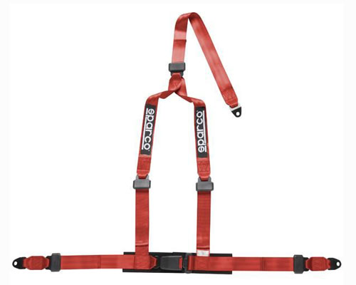 Image of Sparco 2 Inch Tuner 3-Point Bolt-In Harness Red