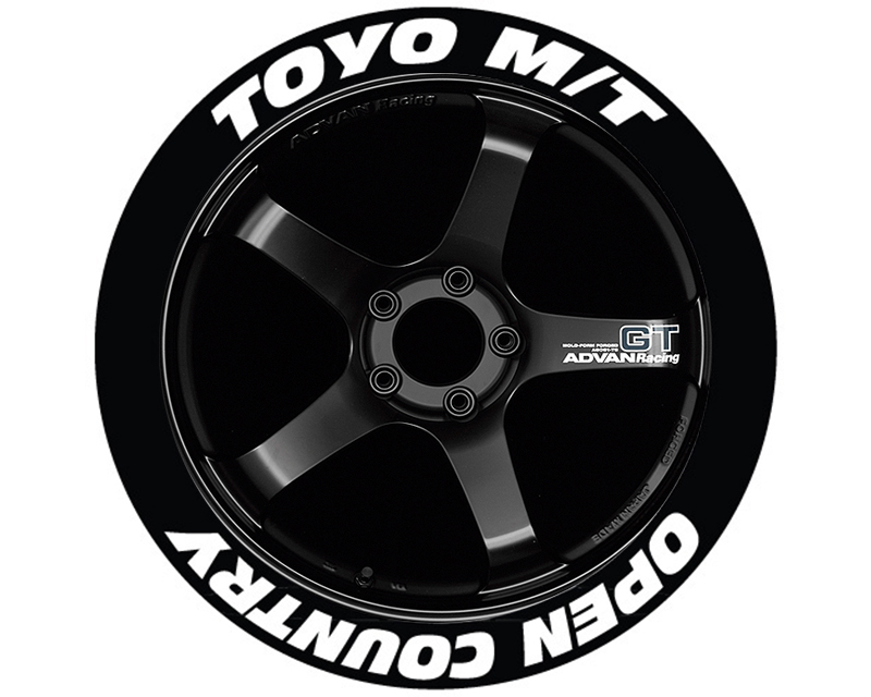 Tire Stickers 'Toyo Tires Open Country' Permanent Raised Rubber Lettering - TS-TOYOOPEN-RR