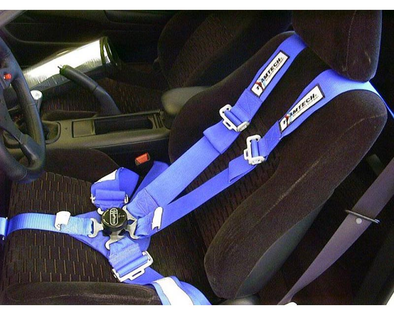 Team Tech FIA 6 Point FIA Snap-Hook Harness Blue-Silver-Black - TT-542551