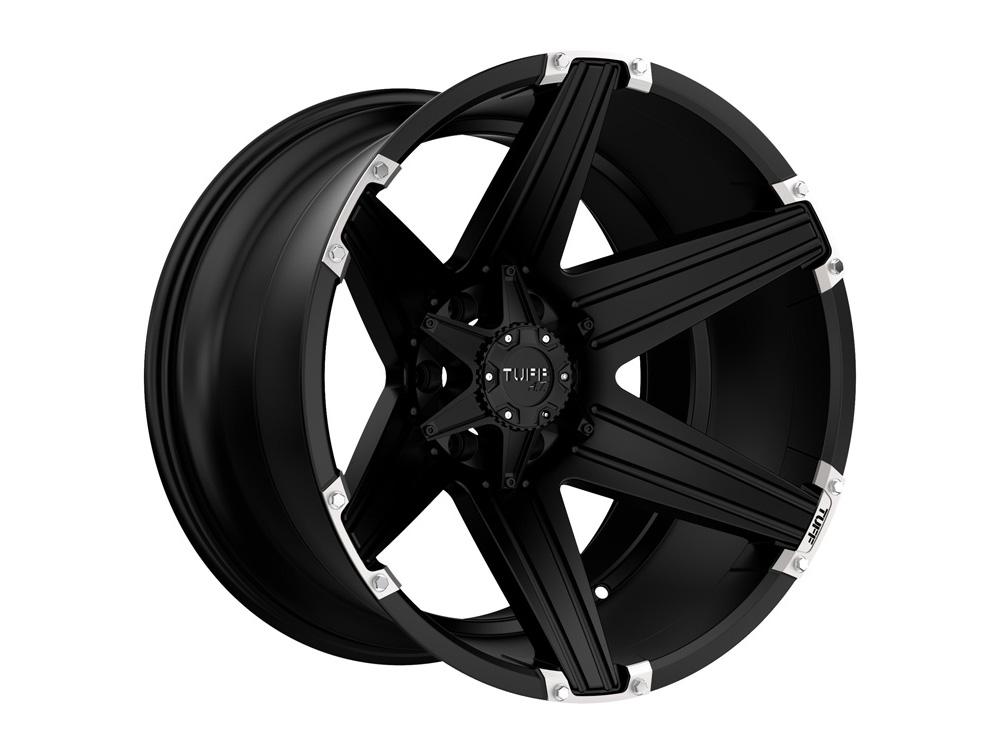 Tuff A.T. T12 Satin Black w/Brushed Inserts Wheel 22x12 8x170 -45mm - 2212T12-58170M30