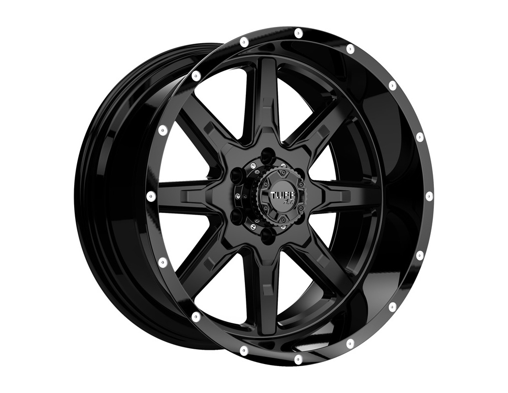 Tuff A.T. T-15 Satin Black w/Gloss Black Lip Wheel 18x10 5x139.7 -3mm - 1810T15-35140M08B