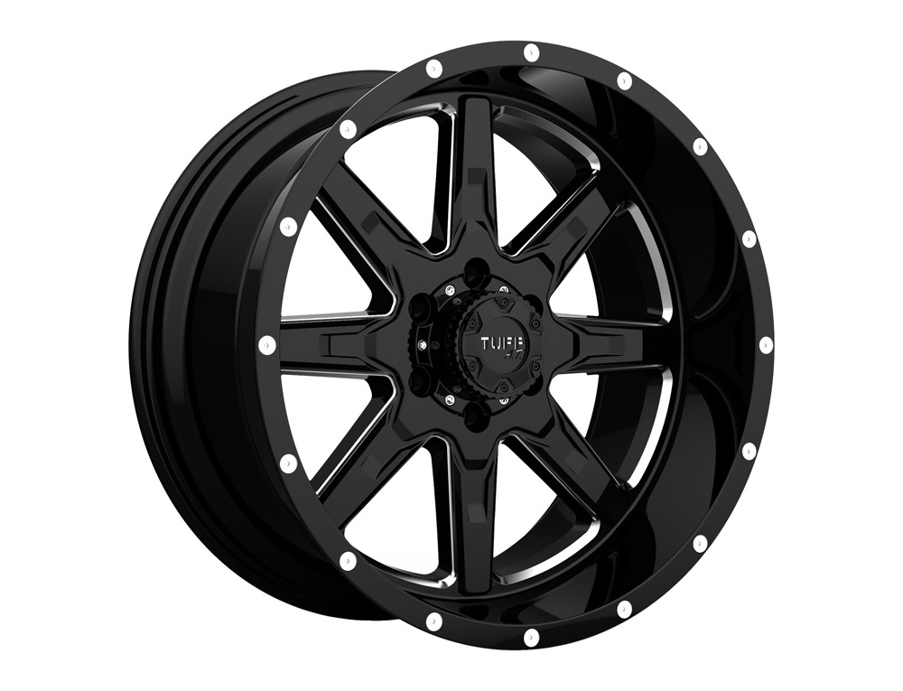 Tuff A.T. T-15 Gloss Black w/Milled Spokes Wheel 22x10 6x139.7 5mm - 2210T15056140B06