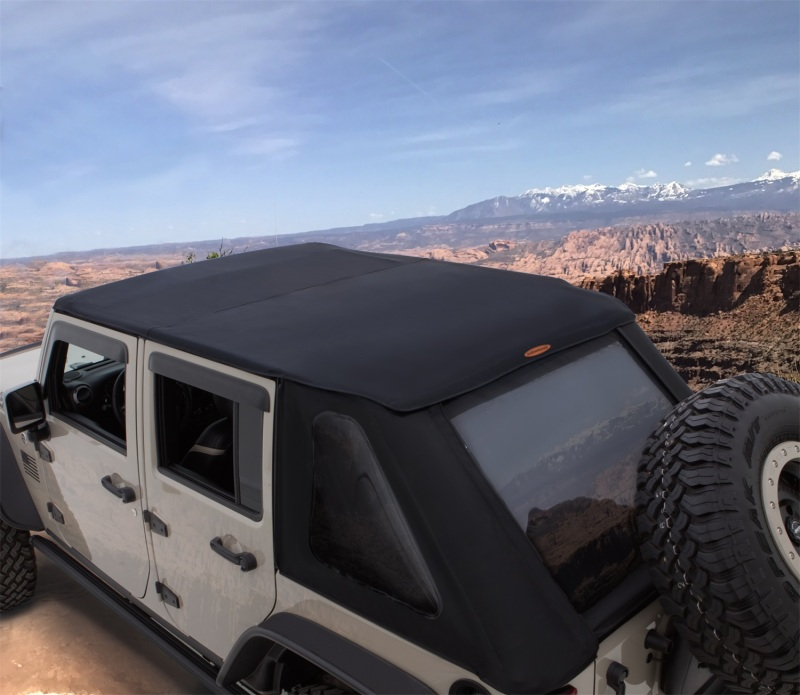 Bushwacker 07-18 Jeep Wrangler Unlimited 4-Door Trail Armor Twill Flat Back Soft Top - Black - 15225