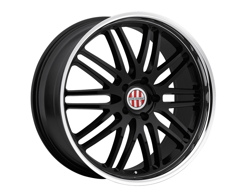 Victor Equipment Le Mans 22X10 5x130 50mm Gloss Black Machined Lip - VE-2210VIL505130B71