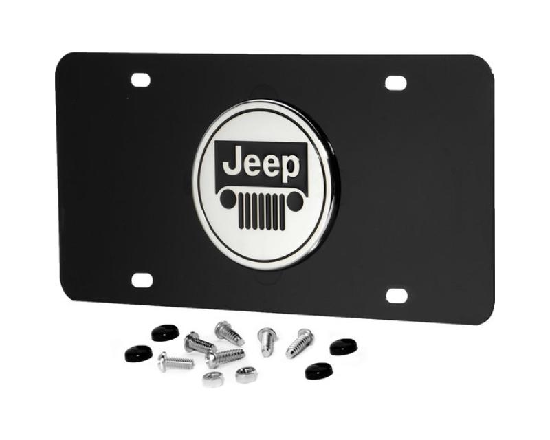 Automotive Gold 3-D Jeep Grille Logo License Plate Black Powder Coated - JEECB