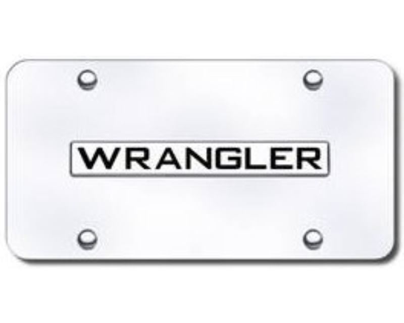 Automotive Gold 3-D Wrangler Logo License Plate Stainless Steel Polished - WRANCC
