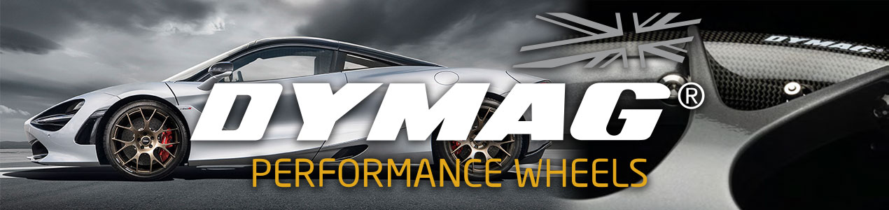 Dymag banner with McLaren 720s and upclose shot of carbon fiber wheel