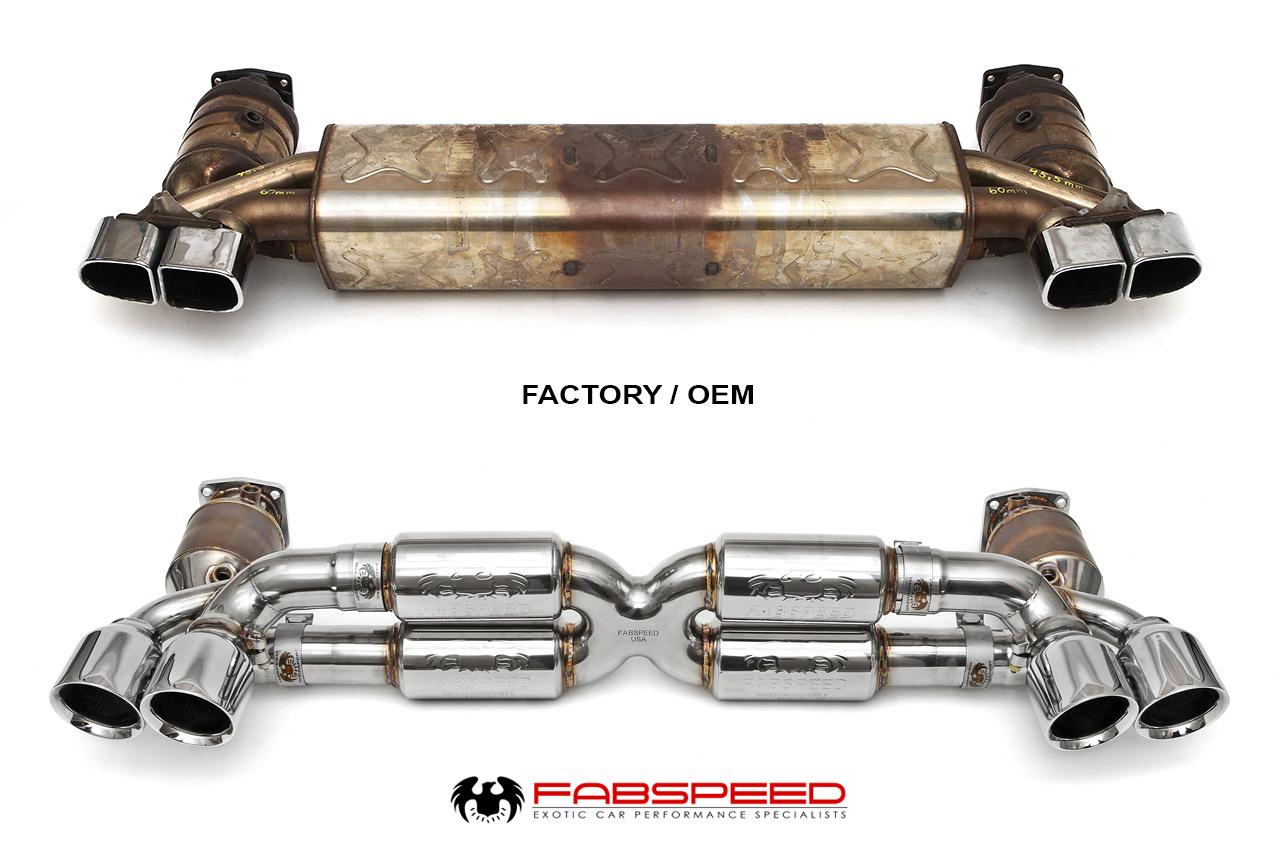 FabSpeed Porsche exhaust compared to OEM porsche exhaust