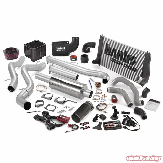 Big Hoss Bundle Complete Power System W/Single Exhaust Black Tip 5 Inch  Screen 01 Chevy 6 6L LB7 SCLB Banks Power