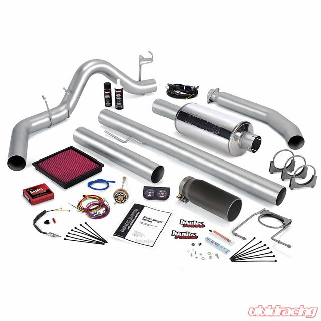 Stinger Bundle Power System W/Single Exit Exhaust Black Tip 02 Dodge 5 9L  Standard Cab 245hp Banks Power