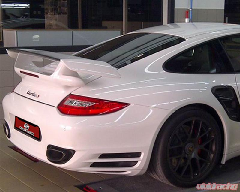 NR Auto 997 FRP GT2 Deck Lid Wing with Carbon Base and Carbon Gurney  Porsche 997 Turbo 07-09 | 99762-CFCF
