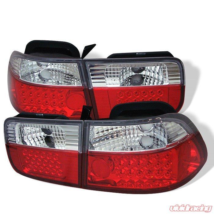 Spyder 2dr Led Red Clear Tail Lights Honda Civic 96 00