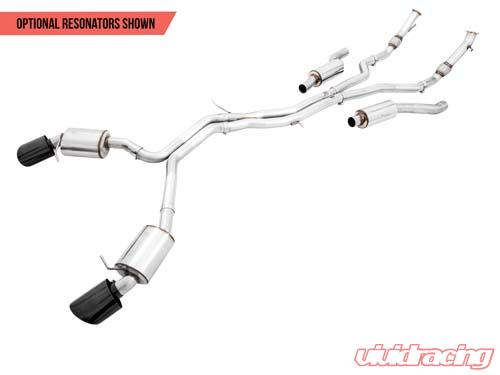 AWE Tuning Touring Edition Exhaust Resonated for Performance Catalysts With  Diamond Black RS-style Tips Audi B9 RS5 2 9T 18-20