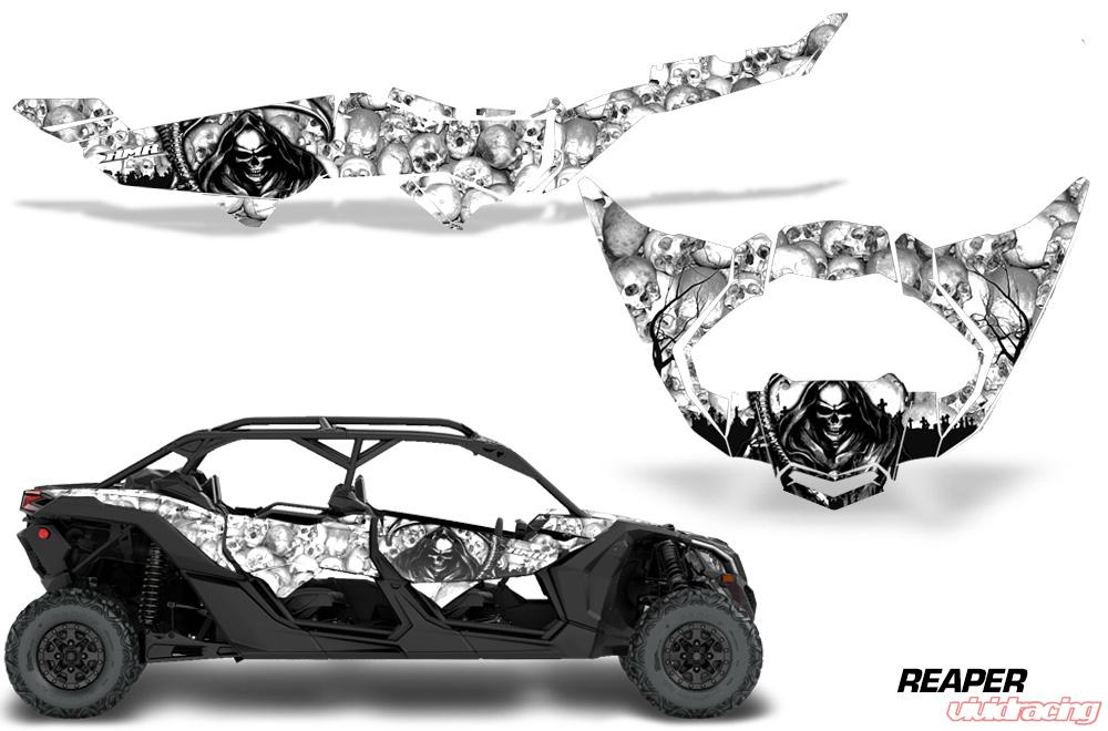 AMR Racing Full Graphics Kit Decal Wrap Can-Am Maverick X3 MAX DS RS 4D  2016+ REAPER WHITE
