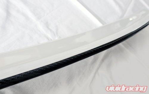 Painted White Duckbill Trunk Spoiler Carbon Strip for 15-19 Subaru Impreza WRX