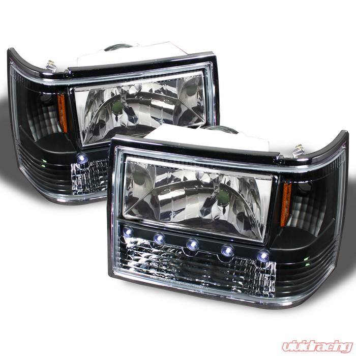 spyder 1 piece jdm black crystal headlights jeep grand cherokee 93 98. Black Bedroom Furniture Sets. Home Design Ideas