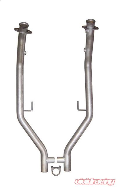 Off Road Exhaust 05 10 Mustang H Pipe 2 5 In For Short Tube Headers Non Catted Natural 409 Stainless Steel Pypes Exhaust