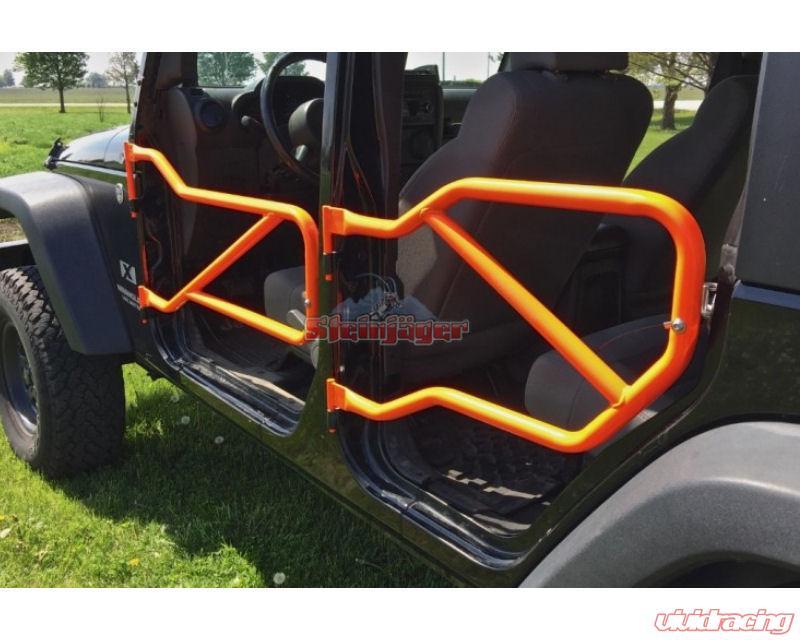 Steinjager Fluorescent Orange Set Of 4 Tube Doors With Logo Jeep Wrangler Jk 07 15 J0040935