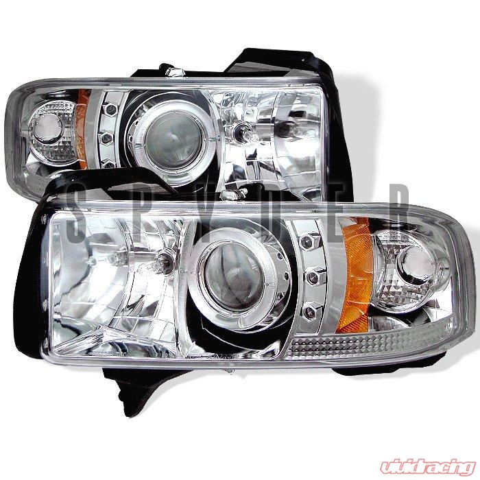 Spyder 1Pc Halo LED Chrome Projector HeadLights Dodge Ram 1500 2500 3500  94-01
