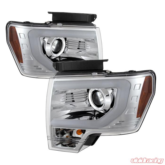 Spyder Auto Chrome Drl Light Bar Projector Headlights Ford F  With Xenon Lights