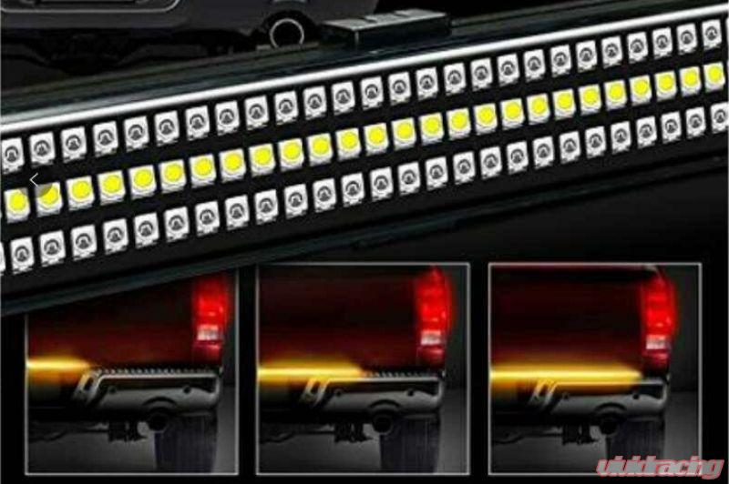 Race Sport Lighting Triple Row Led Truck Tailgate Light Bar 5 Function 3 Color Ip68 With Sequential Amber Turn Signals 48 Inch