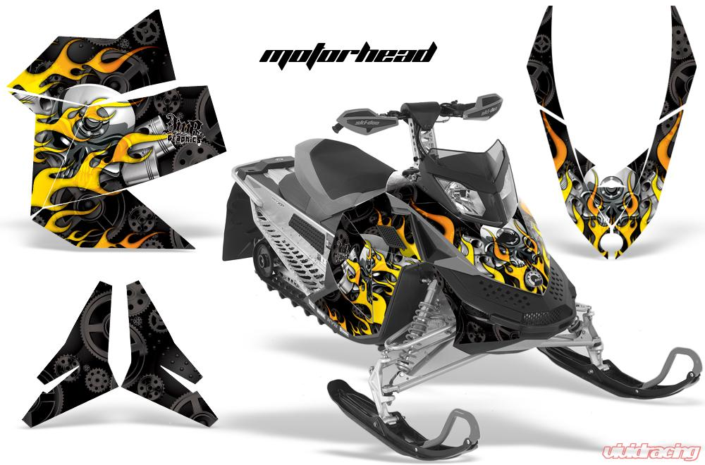 AMR Racing Snowmobile Graphics kit Sticker Decal Compatible with Ski-Doo Rev XP 2008-2012 Hood Reaper Black