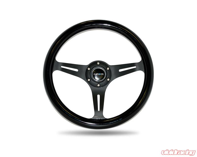 NRG Innovations ST-015MC-BK Classic Wood Grain Wheel 350mm 3 Neochrome spokes - Black Paint Grip
