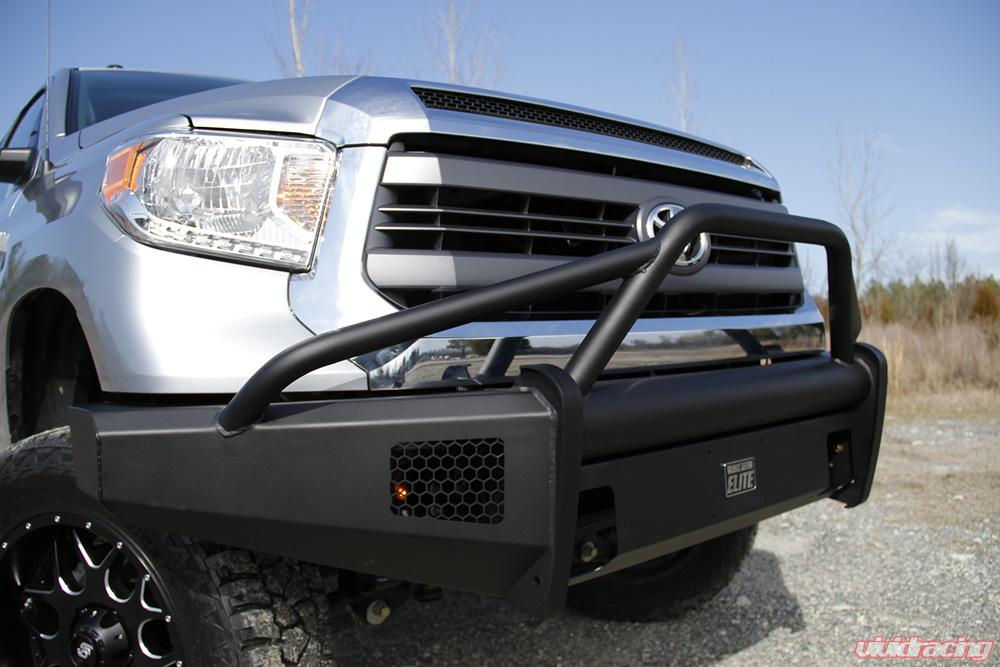 Fab Fours 07-13 Toyota Tundra Black Steel Elite Pre-Runner Front Bumper  Guard Front Bumper w/Tow Hooks