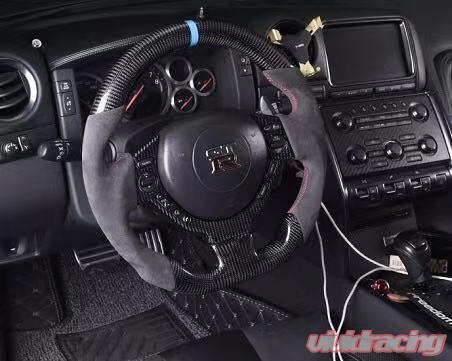 OLIKE Replacement Real Carbon Fiber Steering Wheel with Leather for Nissan GTR GT-R R35