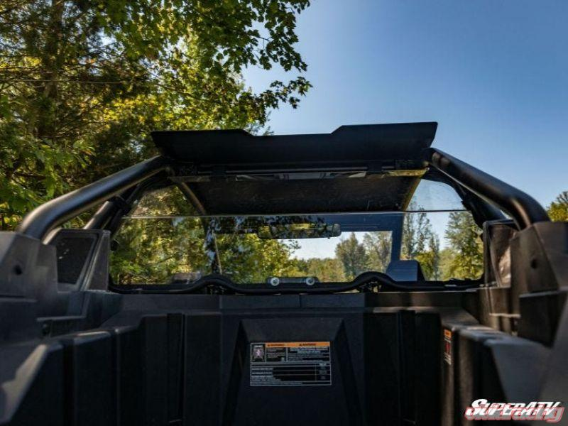 SuperATV Heavy Duty Non-Scratch Resistant Clear Rear Windshield for 2020+ Polaris RZR PRO XP 4 | Made in USA Eliminates suction from front windshield! 4 Seater