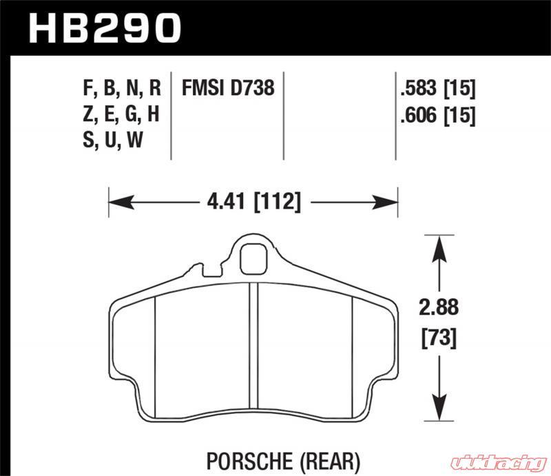 996 C2//C4 Hawk HPS Brake Pads Rear For HB290F.583 Porsche 911 Boxster S