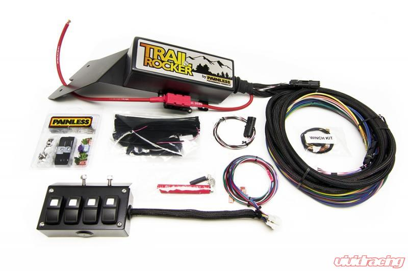 painless wiring trail rocker system jeep cj 1976-86 w/underdash 4 switch box