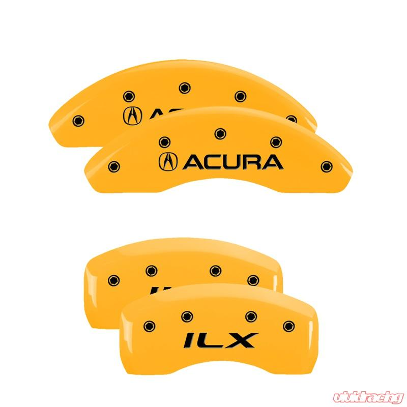 MGP Caliper Covers Set Of 4: Yellow Finish, Black Acura