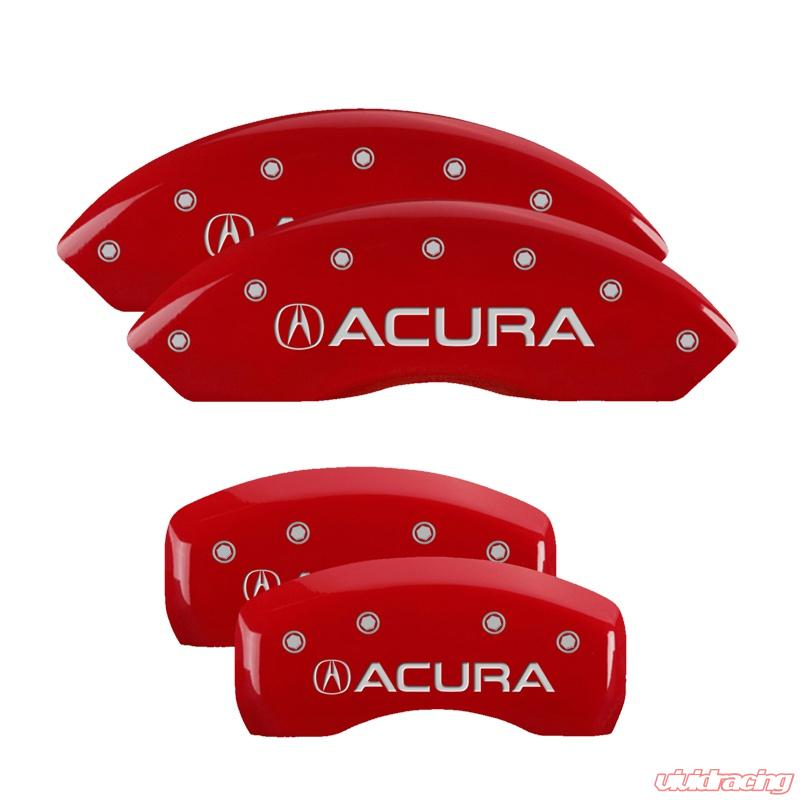 MGP Caliper Covers Set Of 4: Red Finish, Silver Acura